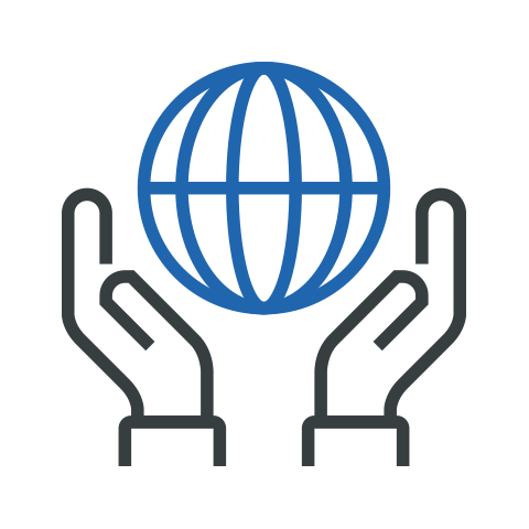 Icon of hands holding up a globe