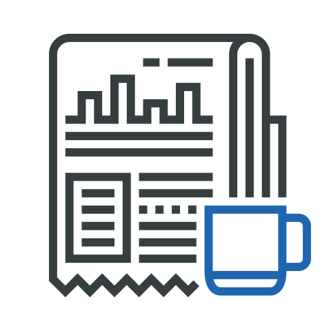 Icon showing a coffee cup in front of a newspaper