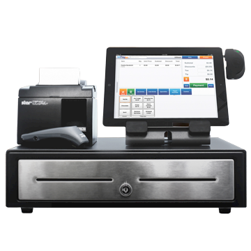 Image of a POS terminal with cash drawer