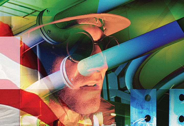 Collage illustration of man with hard hat, goggles, American flag