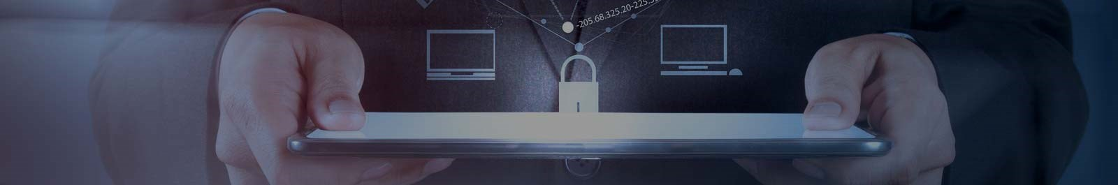 Header image - closeup of hands holding tablet device superimposed with lock