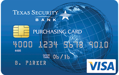 Image of sample corporate purchasing card