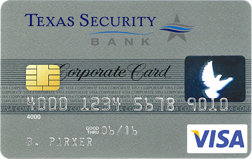 Image of sample corporate credit card
